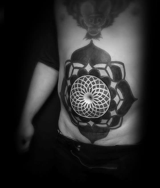 Mens Geometric Blackwork Stomach Chest Tattoo Design Inspiration