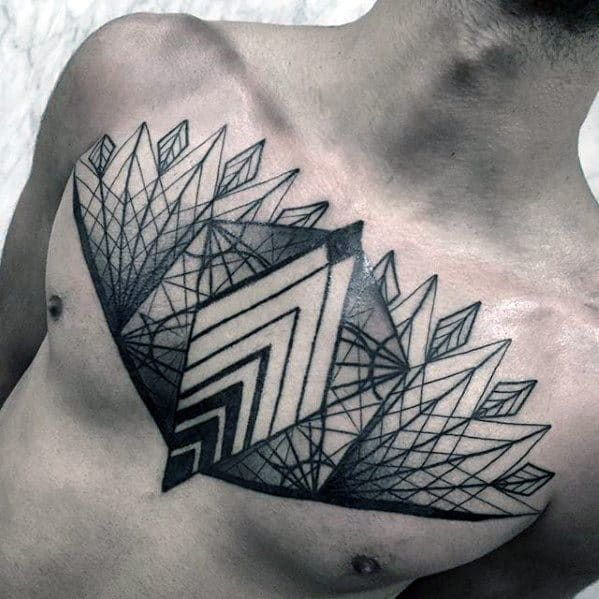 Mens Geometric Chest Tattoo