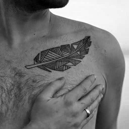 Mens Geometric Feather Shoulder Upper Chest Tattoo Ideas