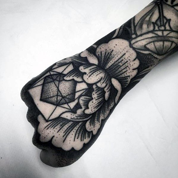 Mens Geometric Flower 3d Hand Tattoo Design Inspiration