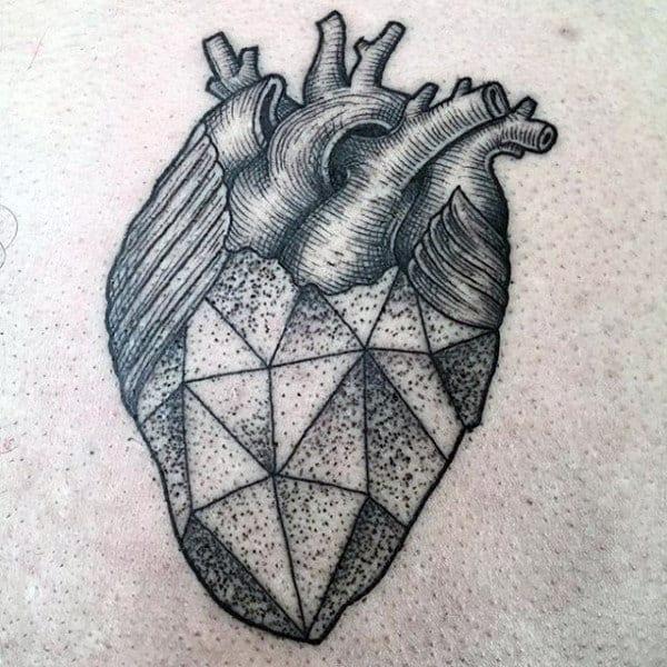 Mens Geometric Heart Shaded Dotwork Chest Tattoo
