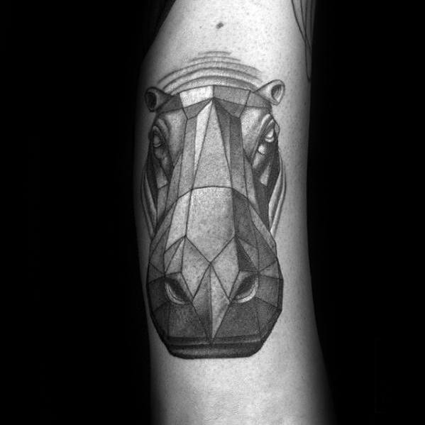 Mens Geometric Hippo Tattoo Ideas On Arm