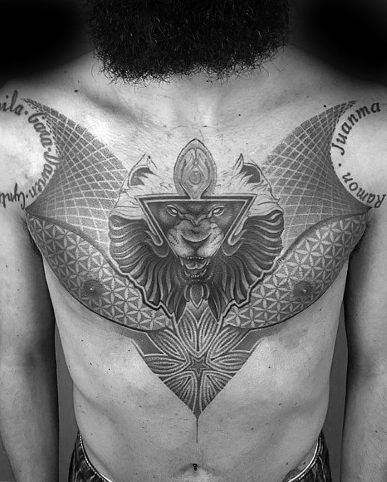 Mens Geometric Lion Head Triangle Chest Tattoo Ideas
