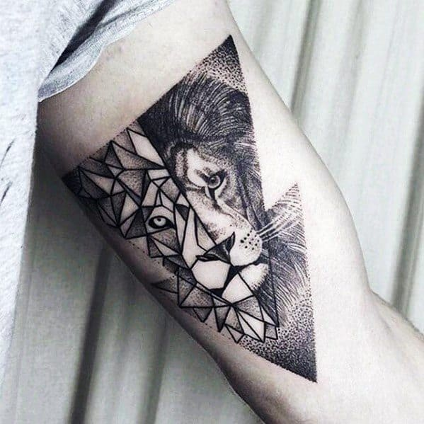 Mens Geometric Lion Tattoo Ideas On Inner Arm