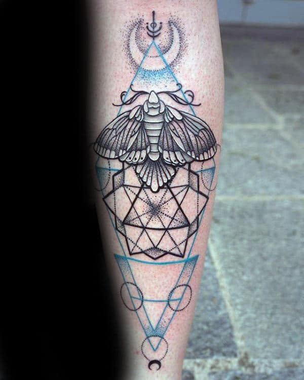 Mens Geometric Moth Forearm Tattoo Ideas With Blue And Black Ink Design