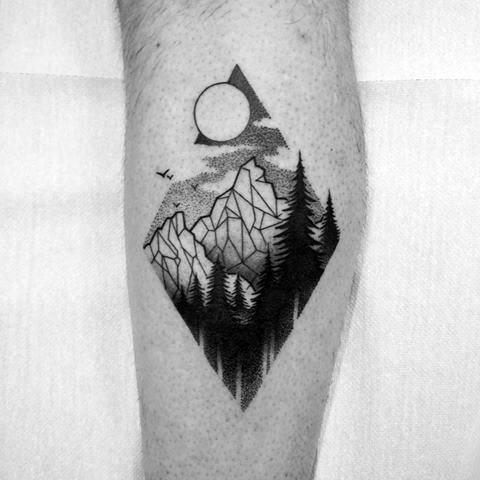 Mens Geometric Mountain Treeline Tattoo Ideas On Leg Calf