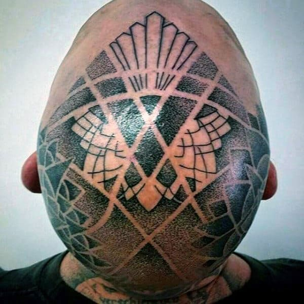 Mens Geometric Negative Space Dotwork Head Tattoos