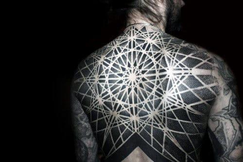 Mens Geometric Negative Space Nice Full Back Tattoos