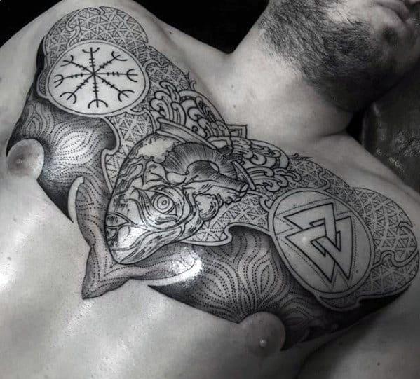 Mens Geometric Norse Themed Chest Tattoo Design Ideas