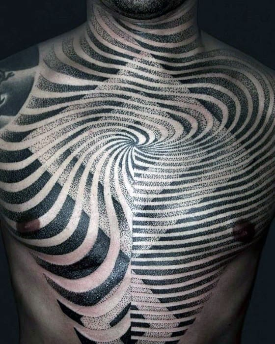 Mens Geometric Optical Illusion Dotwork Cool Chest Tattoo Designs