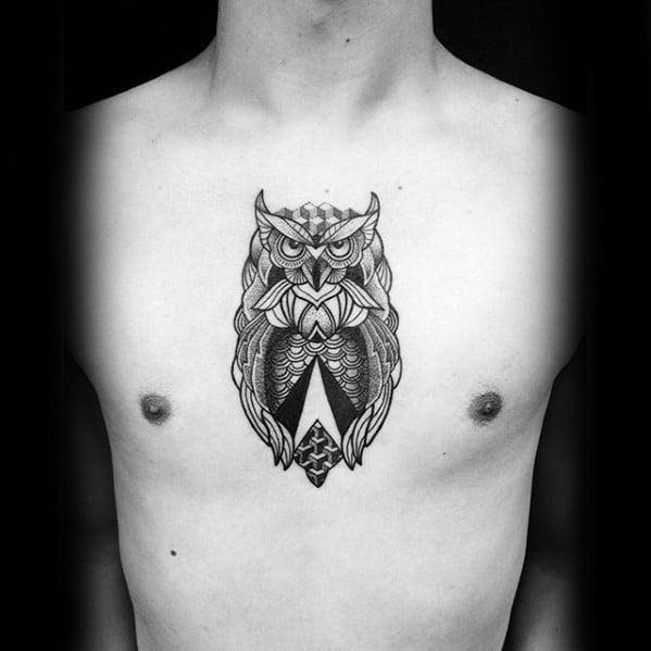 Mens Geometric Owl Creative Upper Chest Tattoos