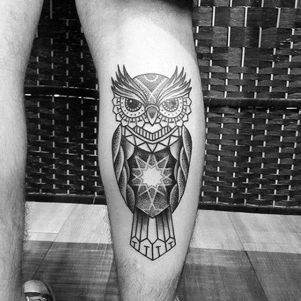 Mens Geometric Owl Star Back Of Leg Tattoo Ideas