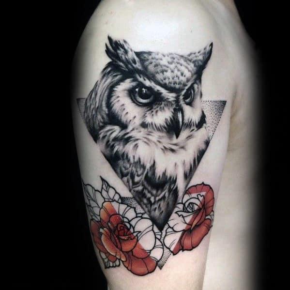 Mens Geometric Owl With Rose Flowers Tattoo Design