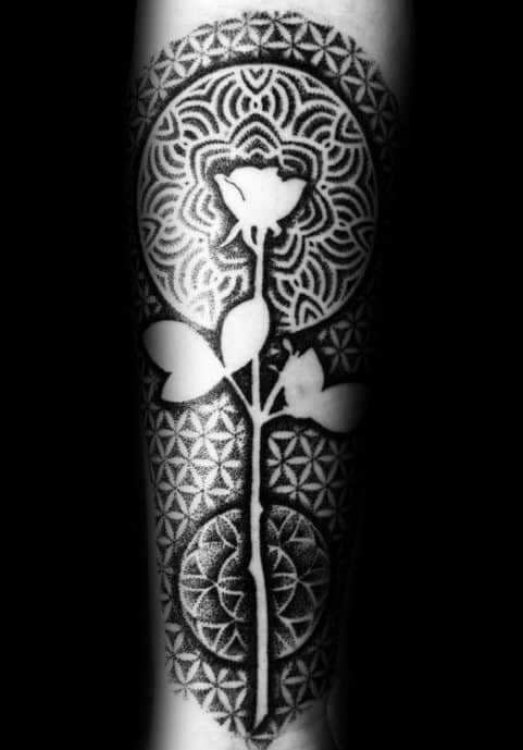 Mens Geometric Rose Negative Space Sleeve Tattoos