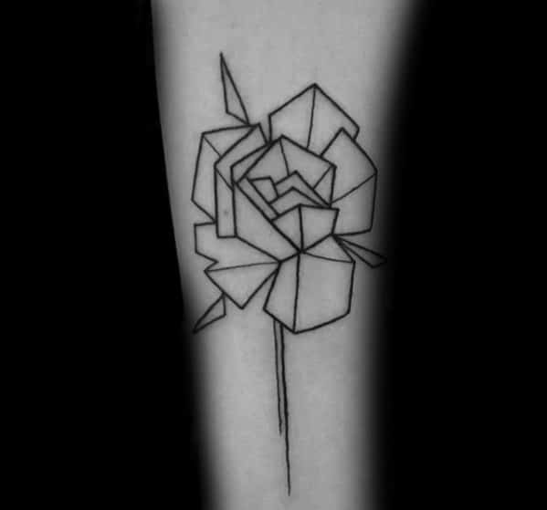 Mens Geometric Rose Small Simple Outline Forearm Tattoo