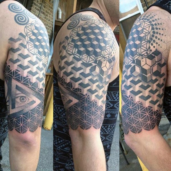 Men's Geometric Sacred Geometry Arm Tattoo Ideas