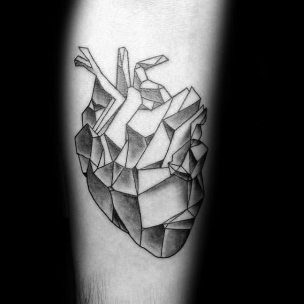 Mens Geometric Shaded Forearm Heart Tattoo