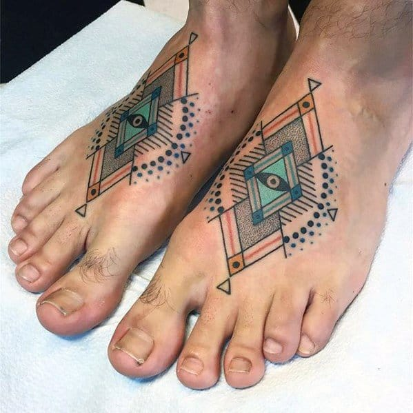 Mens Geometric Shapes Eye Manly Small Foot Tattoo Ideas