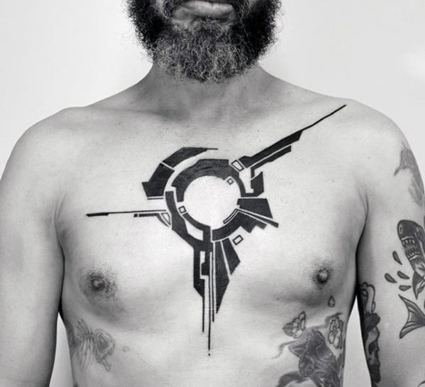 Mens Geometric Simple Chest Black Ink Tattoo Inspiration