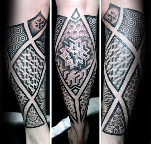 Mens Geometric Sleeve Leg Tattoo Design Inspiration