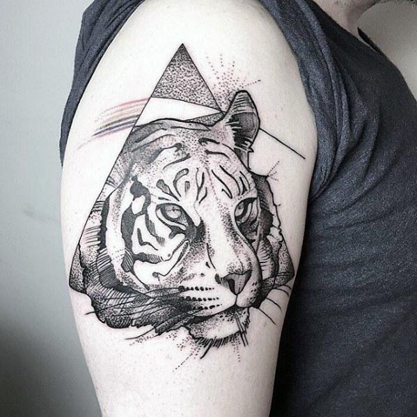 Mens Geometric Tiger Tattoo Design Ideas
