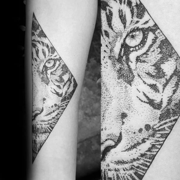 Mens Geometric Tiger Tattoo Ideas