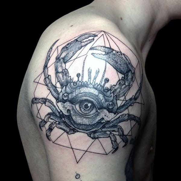 Mens Geometrical Crab Upper Arm And Shoulder Tattoos