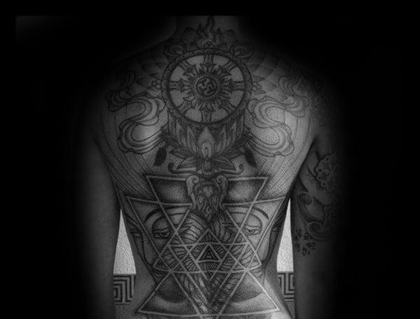 Mens Geometrical Dharmachakra Full Back Tattoo Ideas