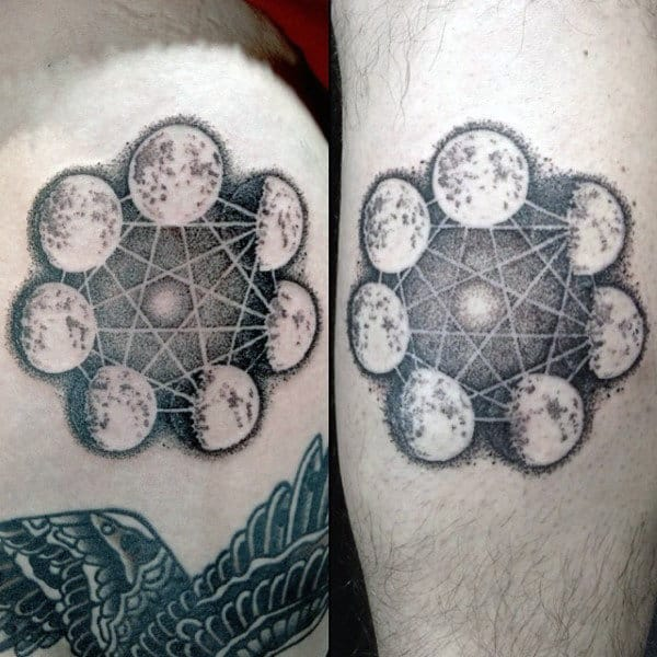 Mens Geometrical Moon Phase Tattoos On Leg Calf