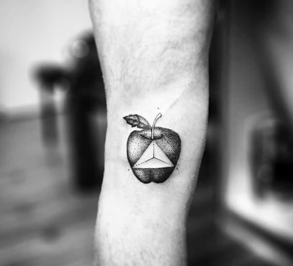 Mens Geometrical Triangle Apple Small Tattoo On Leg