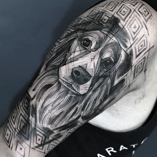 Mens Geomtric Abstract Linework Half Sleeve Dog Tattoo Inspiration