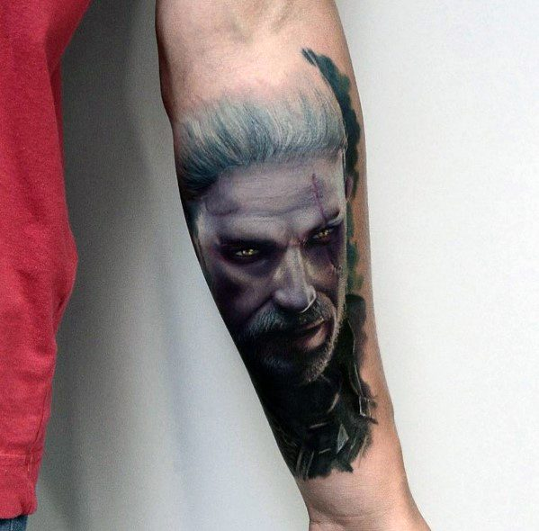 Mens Geralt Tattoo Designs