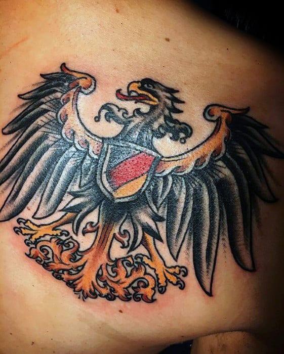 Mens German Eagle Shoulder Blade Tattoo Designs