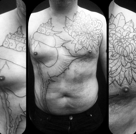 Mens Giant Upper Chest Seashell Tattoos Black Ink Outline