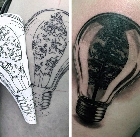 Mens Glass Tree Inside Light Bulb Tattoo