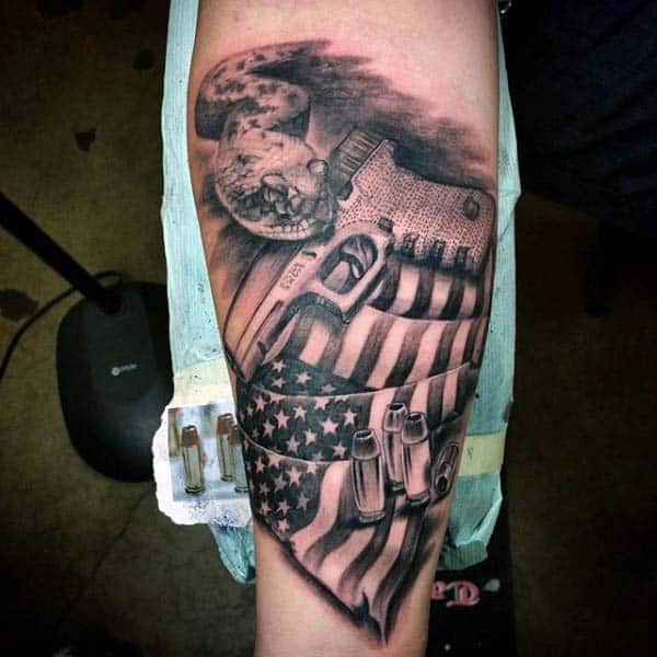 Mens Glock With American Flag And Hollow Point Bullet Tattoo On Forearm