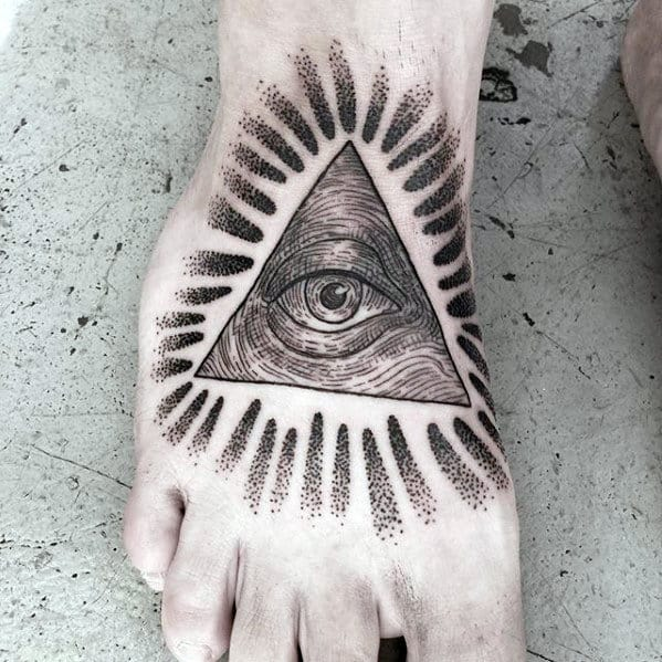 Mens Glowing Eye Of Providence Dotwork Foot Tattoos