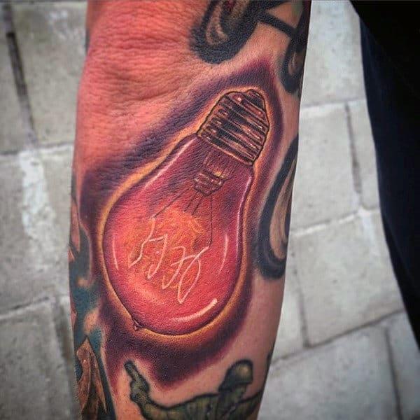 Mens Glowing Red Light Bulb Arm Tattoo