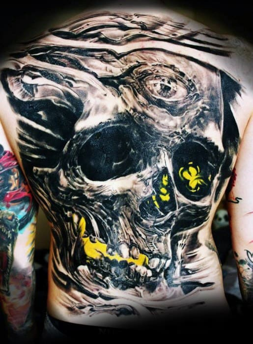 Mens Glowing Yellow And Black Ink Cool Back Tattoos