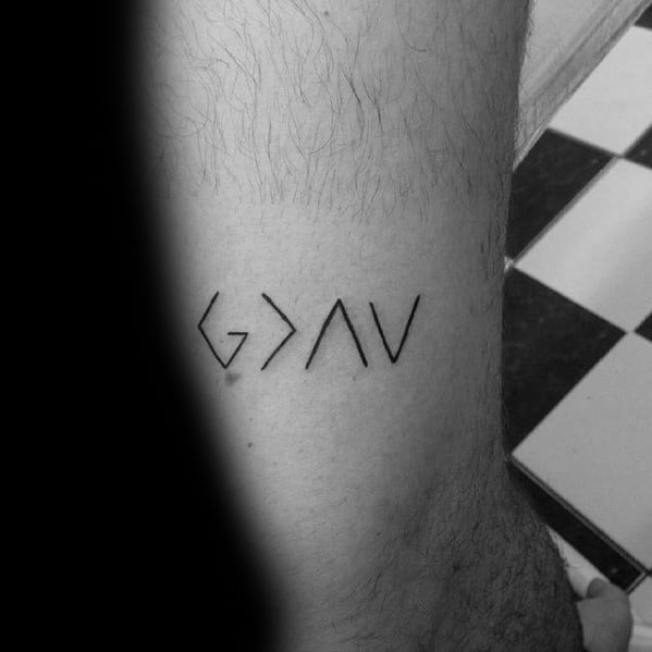 Mens God Is Greater Than The Highs And Lows Tattoo Design Inspiration On Leg