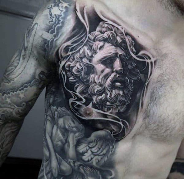 Mens God Zeus Tattoos On Chest