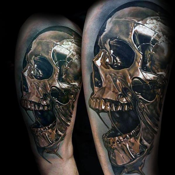 Mens Gold 3d Skull Arm Tattoo