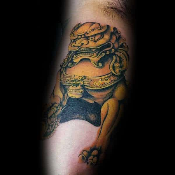 Mens Gold Bicep Foo Dog Tattoo