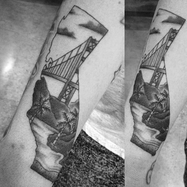 Mens Golden Gate Bridge California Arm Tattoo