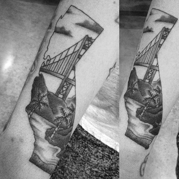 Mens Golden Gate Bridge California Arm Tattoo