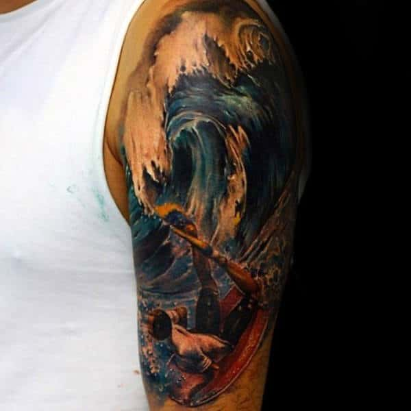 Mens Gorgeous Surfing Tattoo On Arms