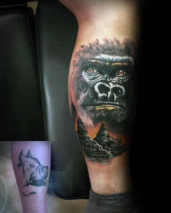 Mens Gorilla Side Of Leg Tattoo Cover Up Ideas