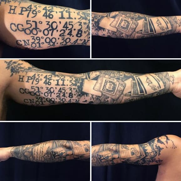 Mens Gps Geo Coordinates Travel Full Sleeve Tattoo With Black Ink
