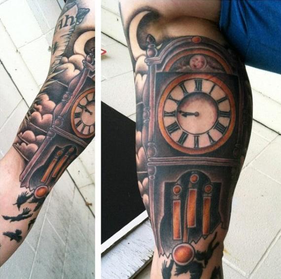 Mens Grandfather Clock Inner Arm Decorative Tattoo Ideas