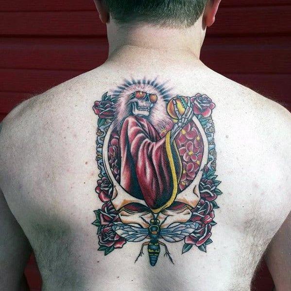 Mens Grateful Dead Tattoo Design Inspiration On Upper Back